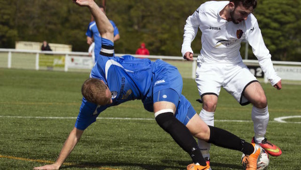 Lowland League Cup Final   Gretna 2008/East Kilbride  Anthony Brady tussle