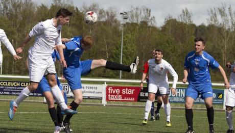 Lowland League Cup Final   Gretna 2008/East Kilbride  Craig Howie has header on goal