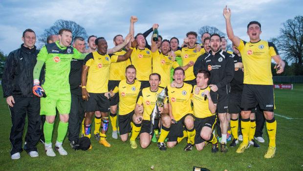Photographer Ian Georgeson, 07921 567360 Ferrari Packaging Scottish Lowland Football League Champions 2015-2016 Whitehill Welfare Vs Edinburgh City  Dougie Gair  captain